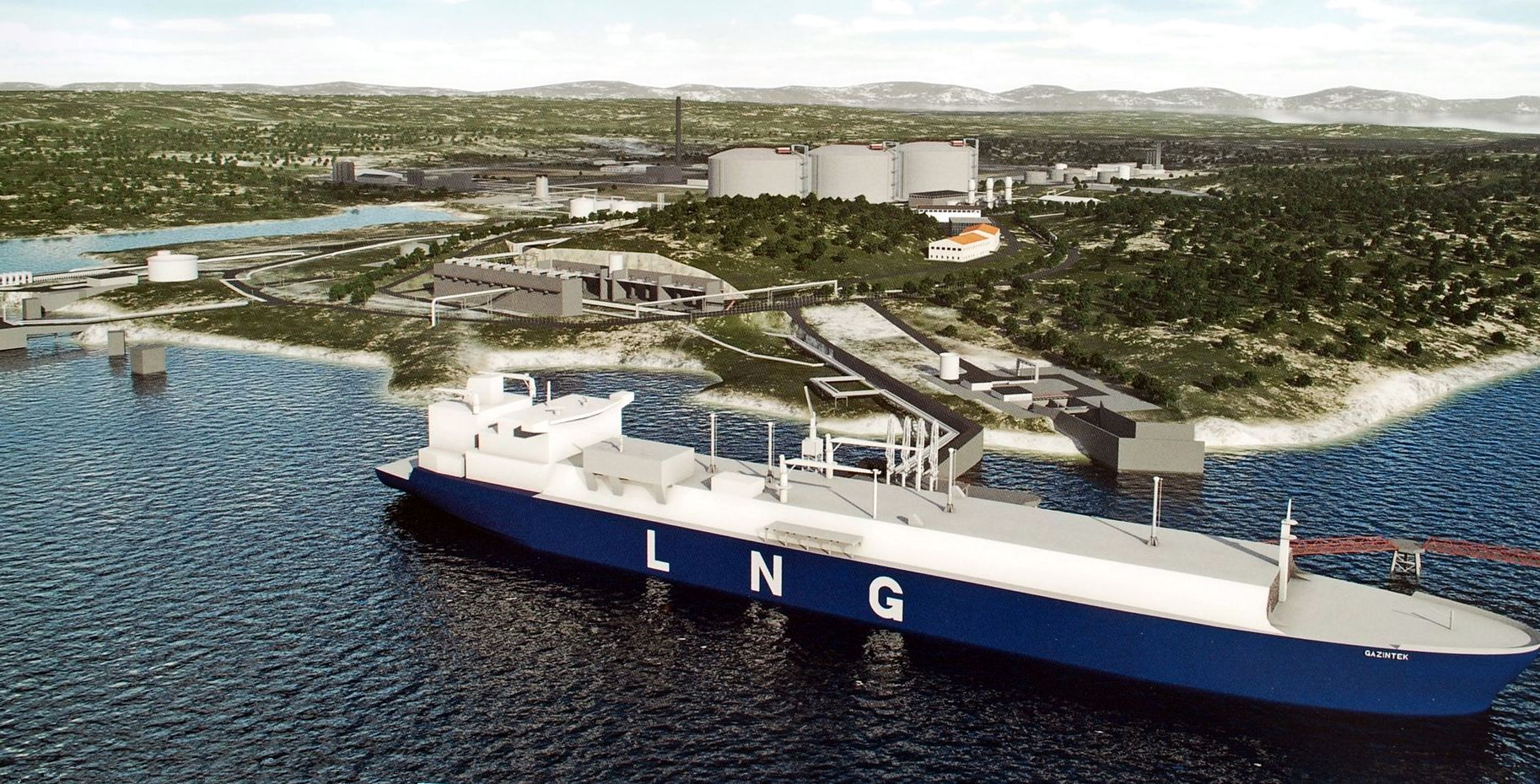 The planned Adria LNG terminal in Croatia, at the Island of Krk. Fig.: Adria LNG