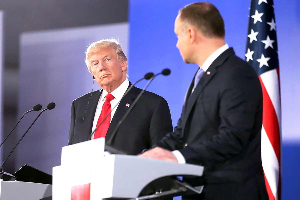 Presidents Donald Trump of the United States and Andrzej Duda of Poland during a joint press conference in Warsaw, July 6, 2017. Photo: KPRP/Krzysztof Sitkowski
