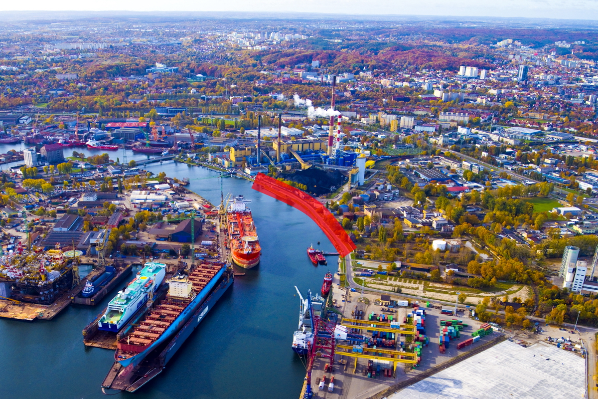 The part of the Szczecinskie Quay (highlighted in red) to be reconstructed. Photo: Kacper Kowalski/www.portgdansk.pl