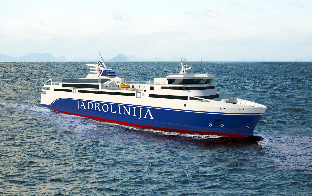 An artist's impression of a new ferry to be built for Jadrolinija/ Image: RMDC