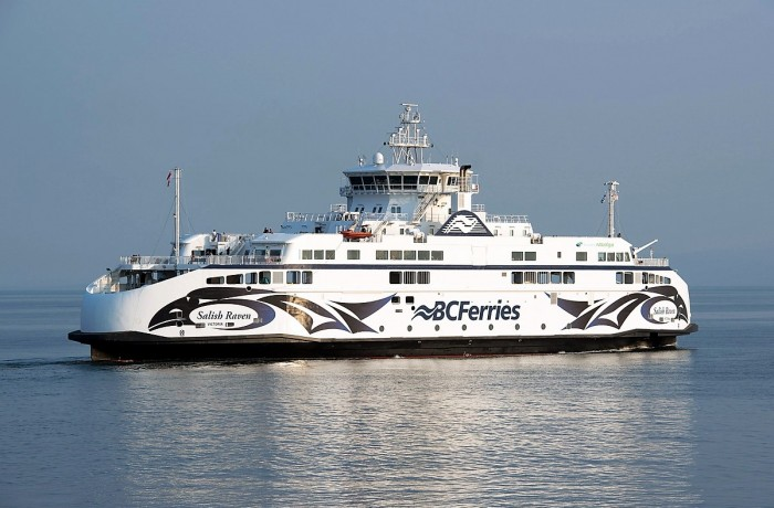 Salish Raven departing Tsawwassen on her first day in service on August 3, 2017.  Photo: Scott Arkell/Twitter/ West Coast Ferries
