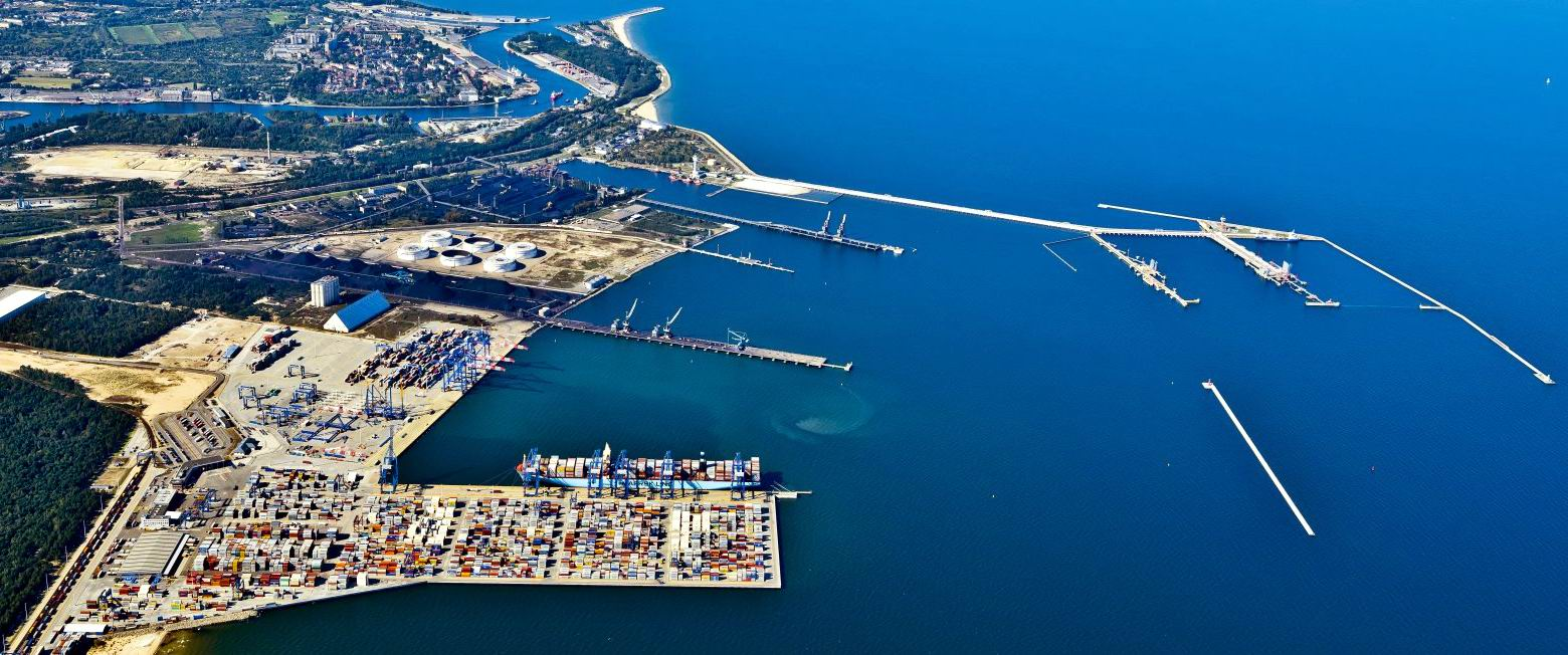 An aerial view of the Port of Gdansk