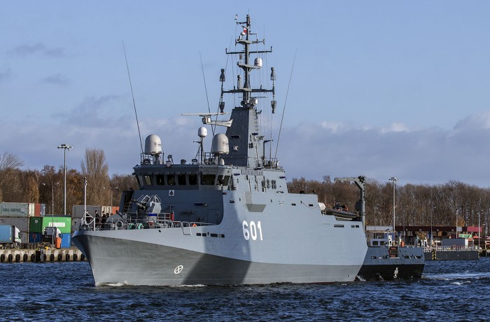 Polish Navy MCMV, TBN ORP Kormoran, departing the port of Gdańsk on the day of delivery from Remontowa Shipbuilding.