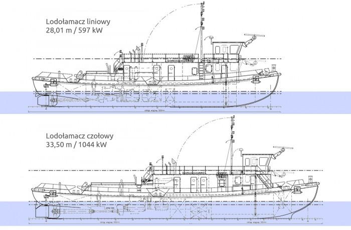 LIne icebreaker (top) and lead icebreaker (bottom) - GA side views. Initial design (pre yard tender).