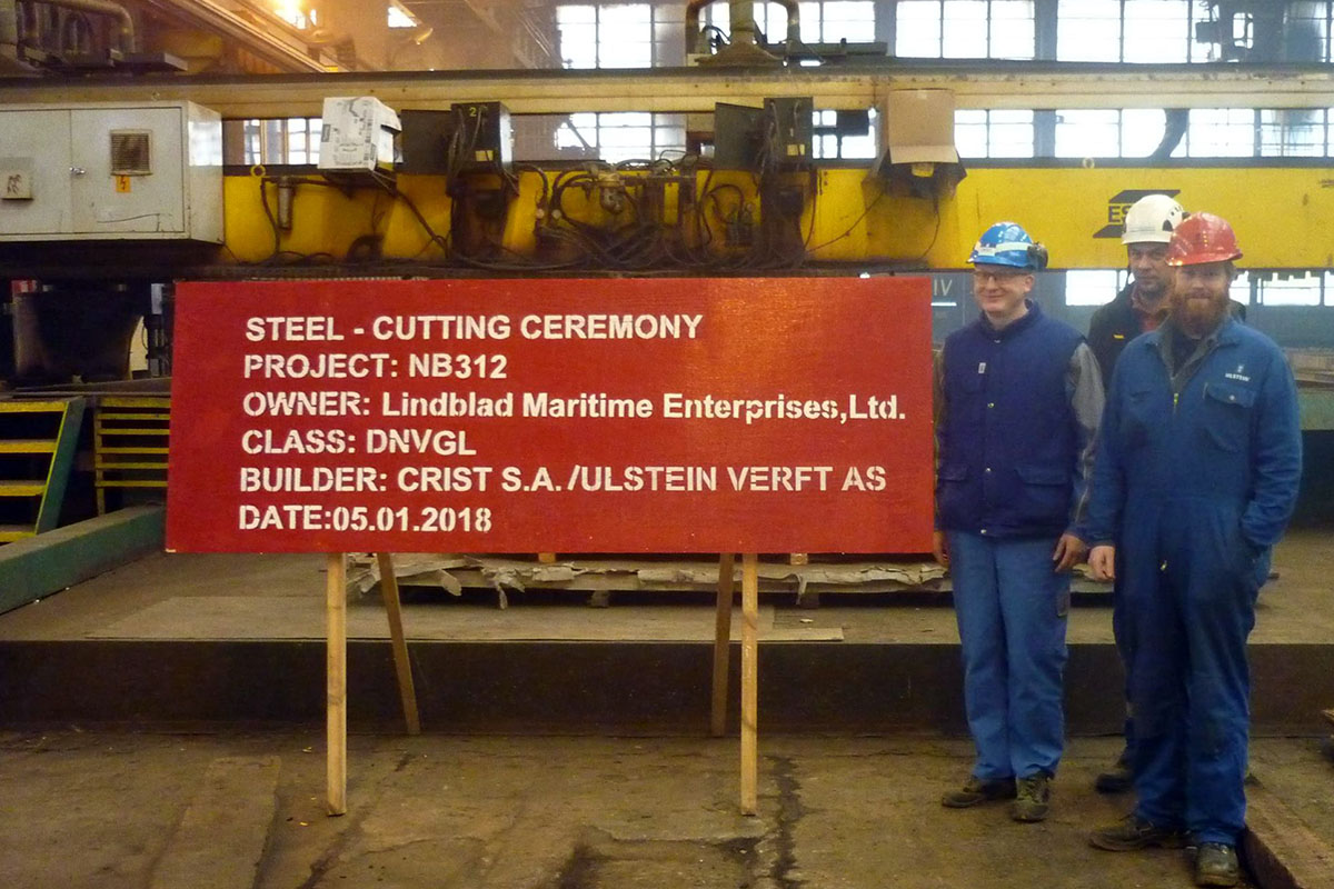 First steel cut for Ulstein's polar expedition vessel at Crist yard