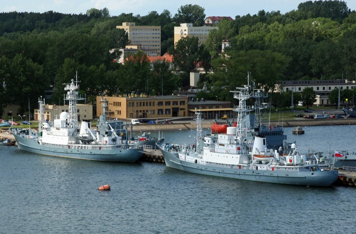 Polish Navy ships Hydrograf and Navigator at Gdynia naval base