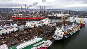 The shipyard full of ferries captured on the 25th of January, 2018. Photo: TOSEM