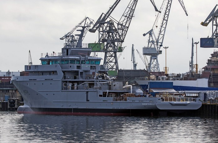 Partially outfitted patrol vessel Dumont d'Urville (A624) after launching at Crist yard.