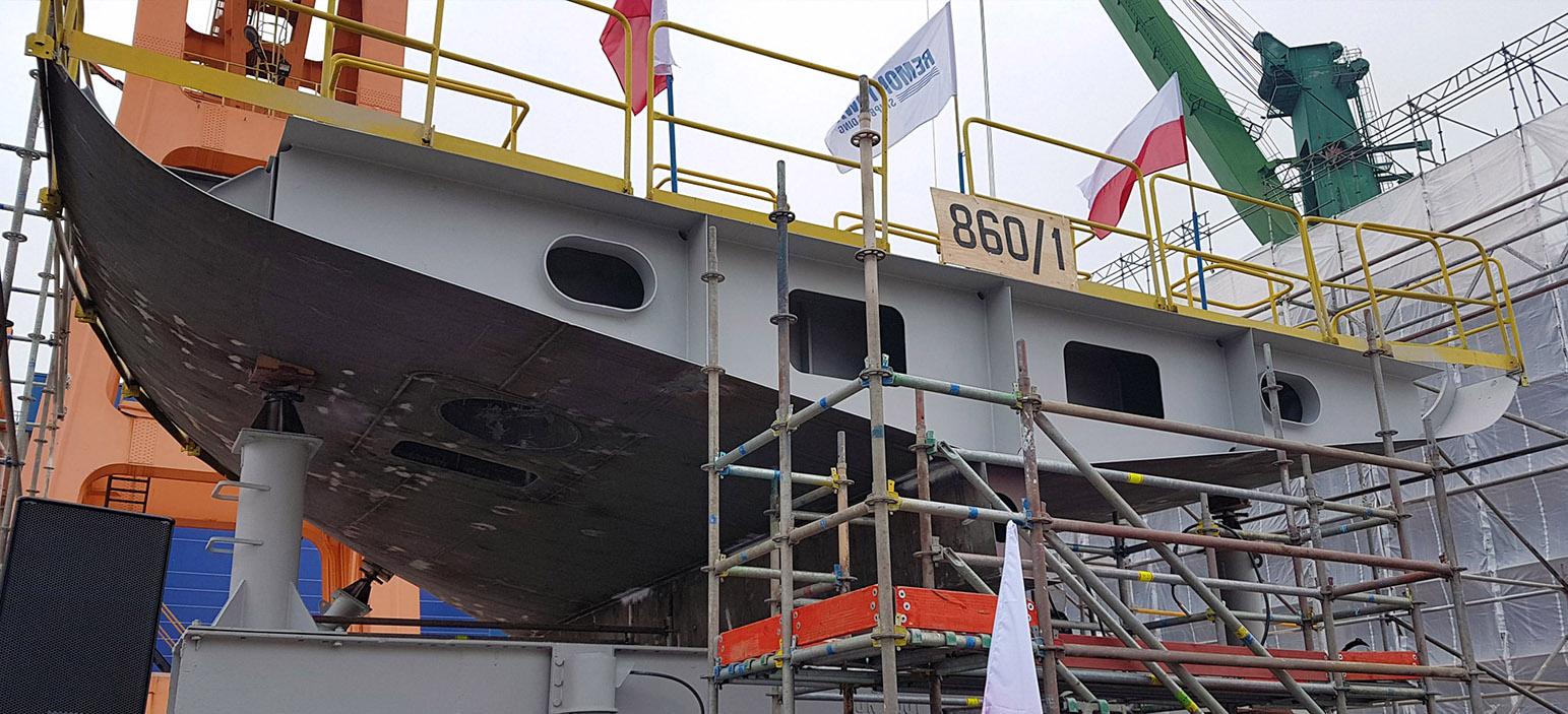 A keel of a modern navy tug boat laid at Remontowa Shipbuilding SA