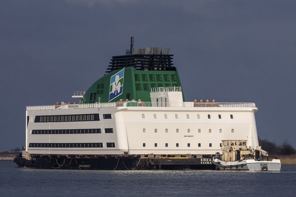 The third and last block of superstructure for Irish Ferries vessel being towed out of Gdansk for Flensburg
