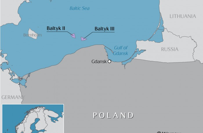 Map of the offshore wind development projects in Poland