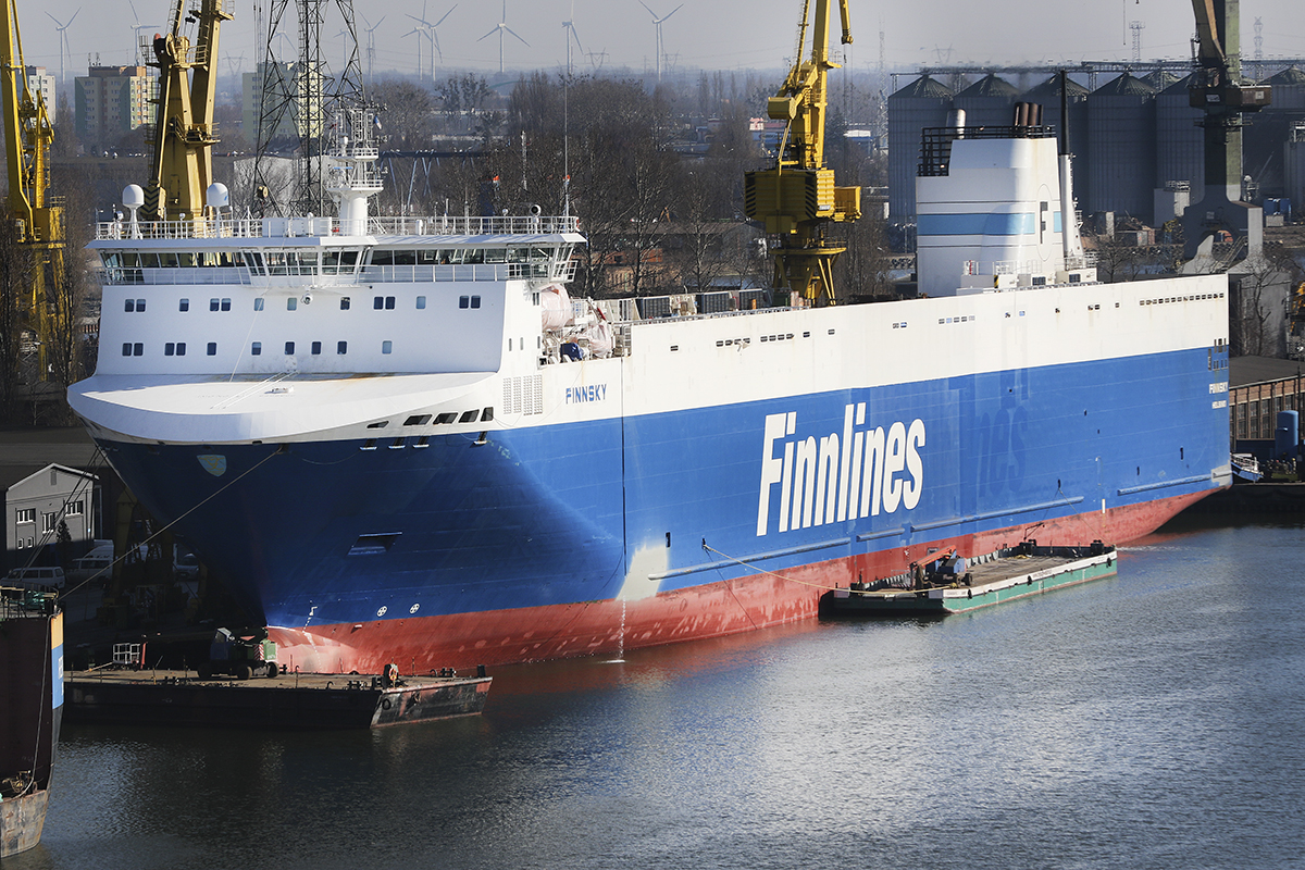 MS Finnsky, the third ro-ro vessel in the series being lengthened at Remontowa SA for Finnlines. Photo: courtesy of Remontowa SA