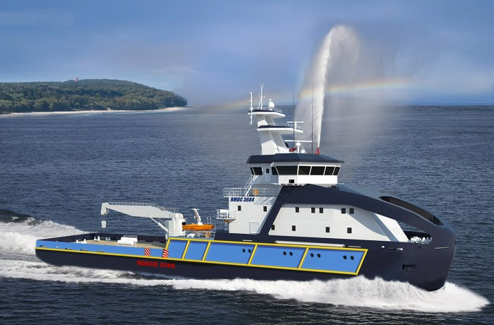 Renderization of the new ice-breaking buoy tender vessel for Poland's Maritime Authorities