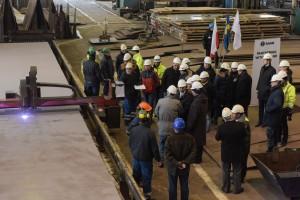 First steel cutting for SIGINT vessel platform under construction at Nauta yard, Gdynia.
