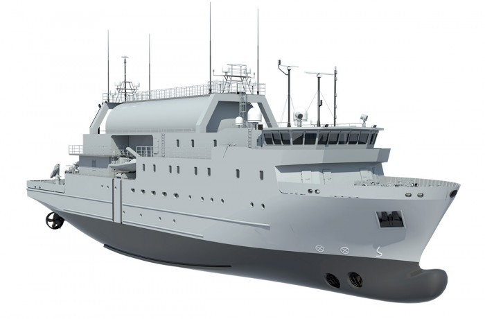 Rendering of a design of Swedish Navy's SIGINT vessel, the platform of which is under construction at SR Nauta SA