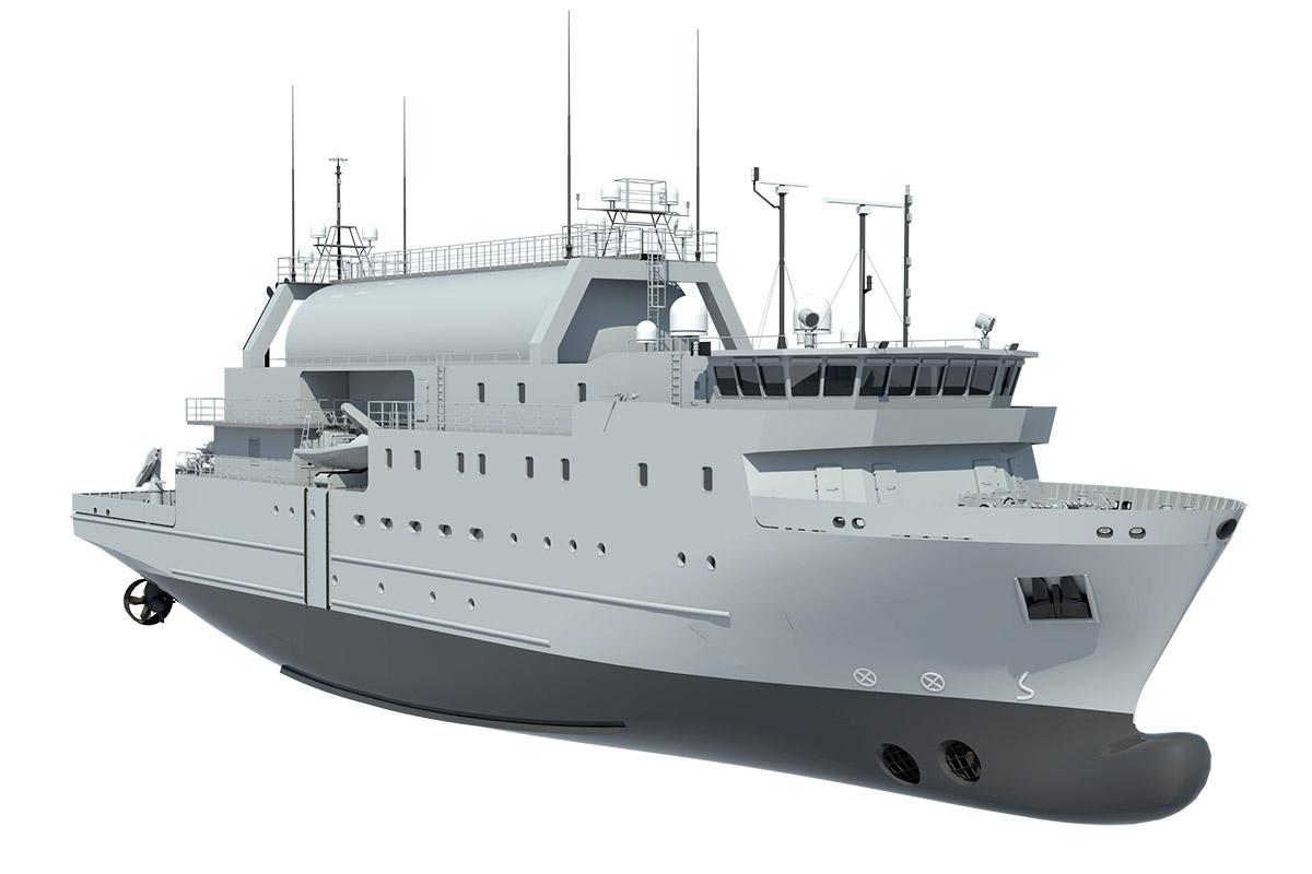 Steel cutting ceremony for Swedish Navy's SIGINT ship at Nauta yard in Gdynia