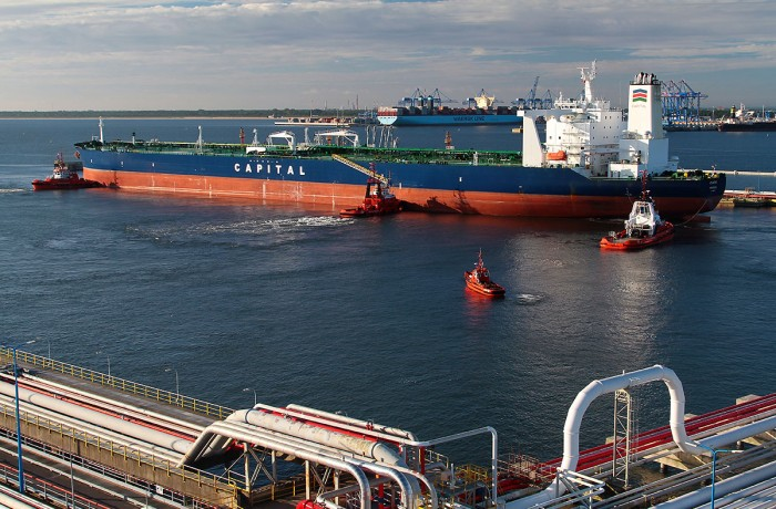 Tanker Atlantas in the Naftoport terminal, Gdańsk.