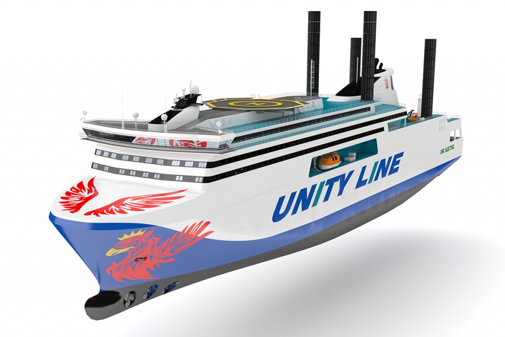 Renderization of an innovative ro-pax ferry designed by NED Project for Polish Steamship Company's Unity Line