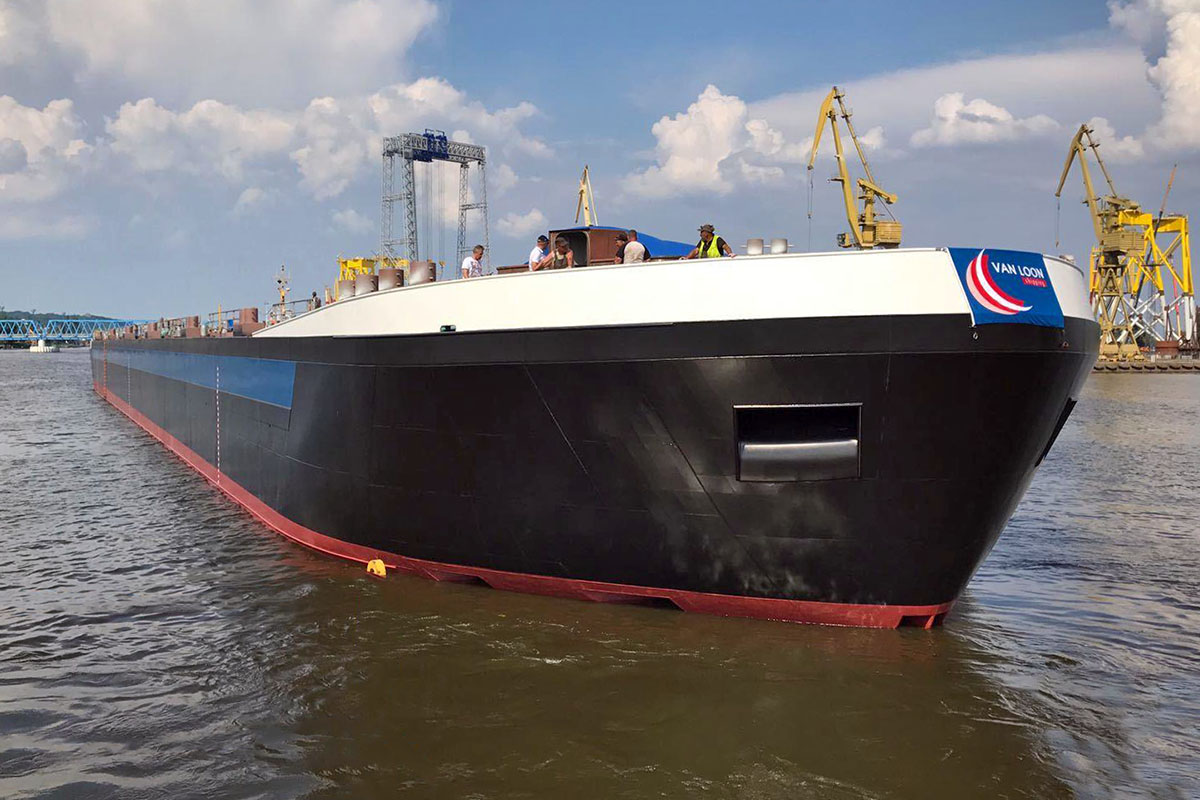 A partially outfitted inland waterway chemical tanker from Partner Stocznia yard launched