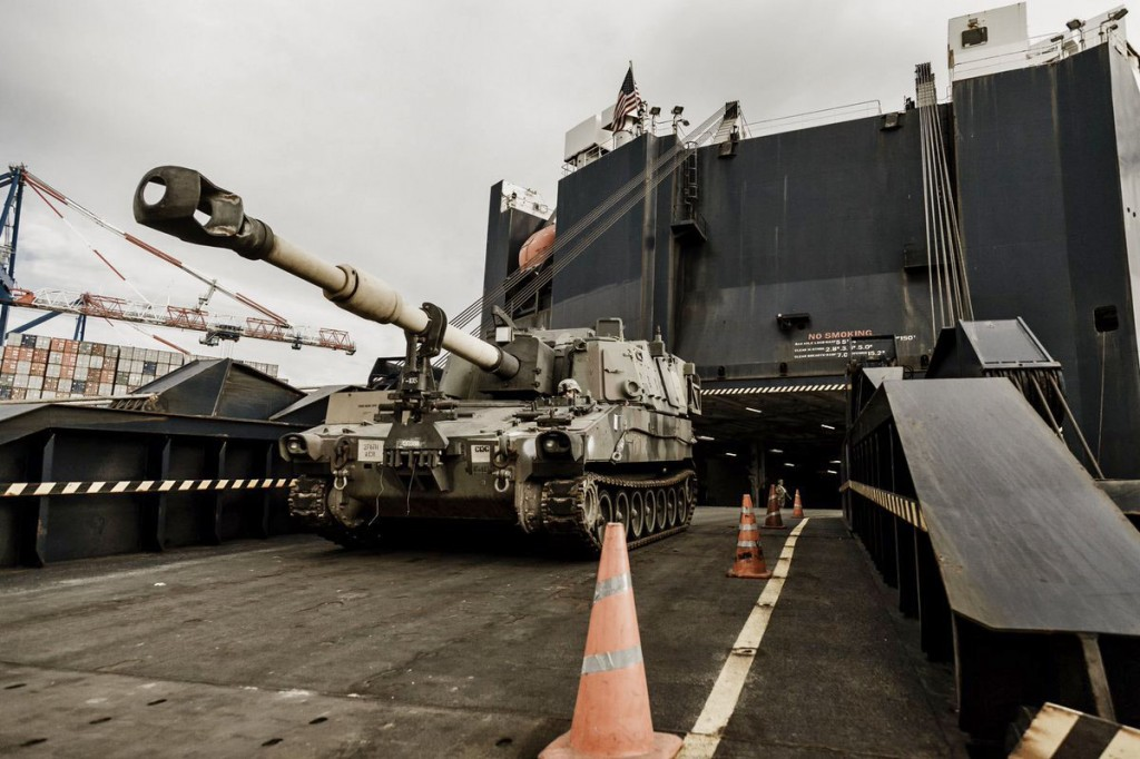 US Army military equipment at DCT Gdansk