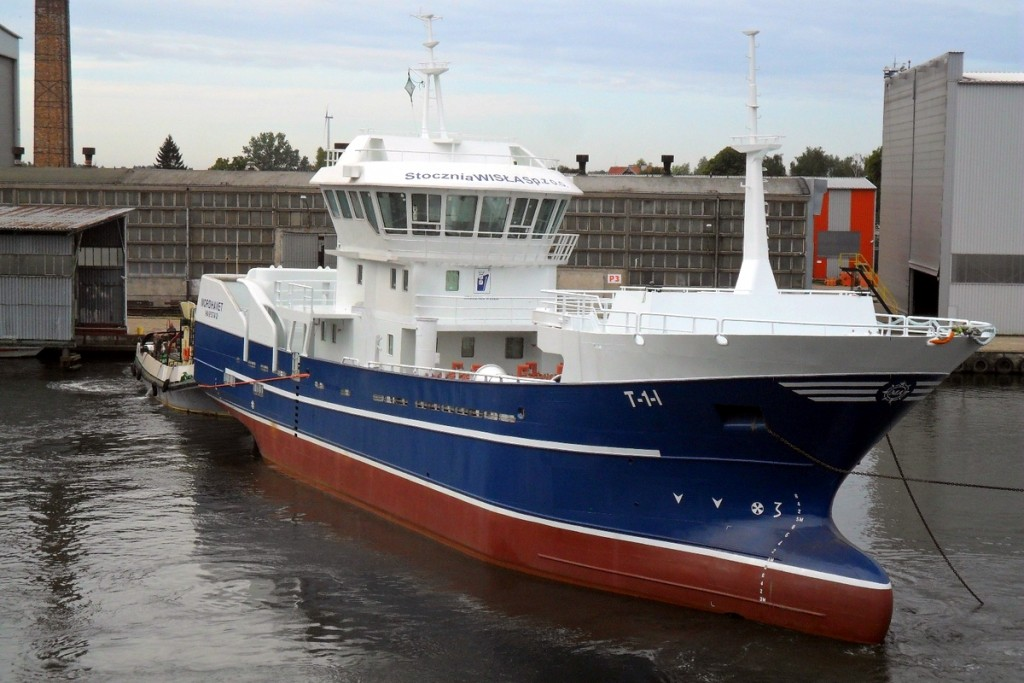 Partially outfitted fishing vessel built at the Wisła Shipyard, launched at Remontowa.