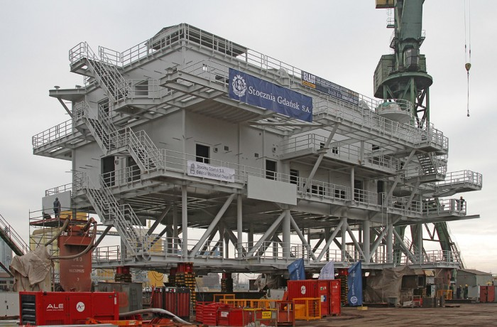 Borkum OWF transformer substation topsides steel structure manufactured at Gdansk Shipyard for Bladt.