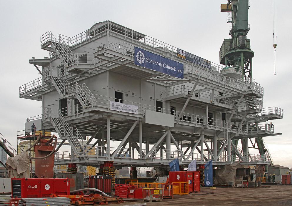 Borkum OWF transformer substation topsides steel structure manufactured at Gdansk Shipyard for Bladt.