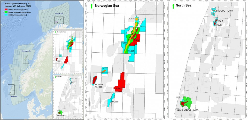 PGNiG current licenses on Norwegian Continental Shelf