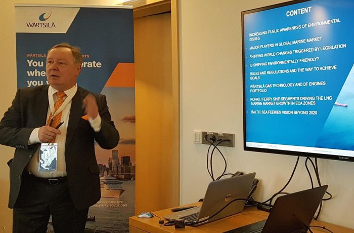Andrzej Buczkowski, sales director, ro-ro and ro-pax market area, Wärtsilä providing a presentation of modern low emission propulsion systems