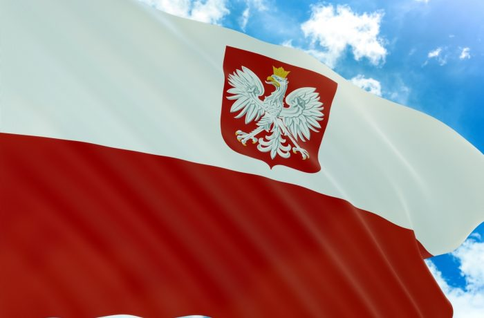 3D rendering of Poland with coat of arms flag waving on blue sky background, Poland is Country in Europe, National Independence Day is a national day in Poland celebrated on 11 November