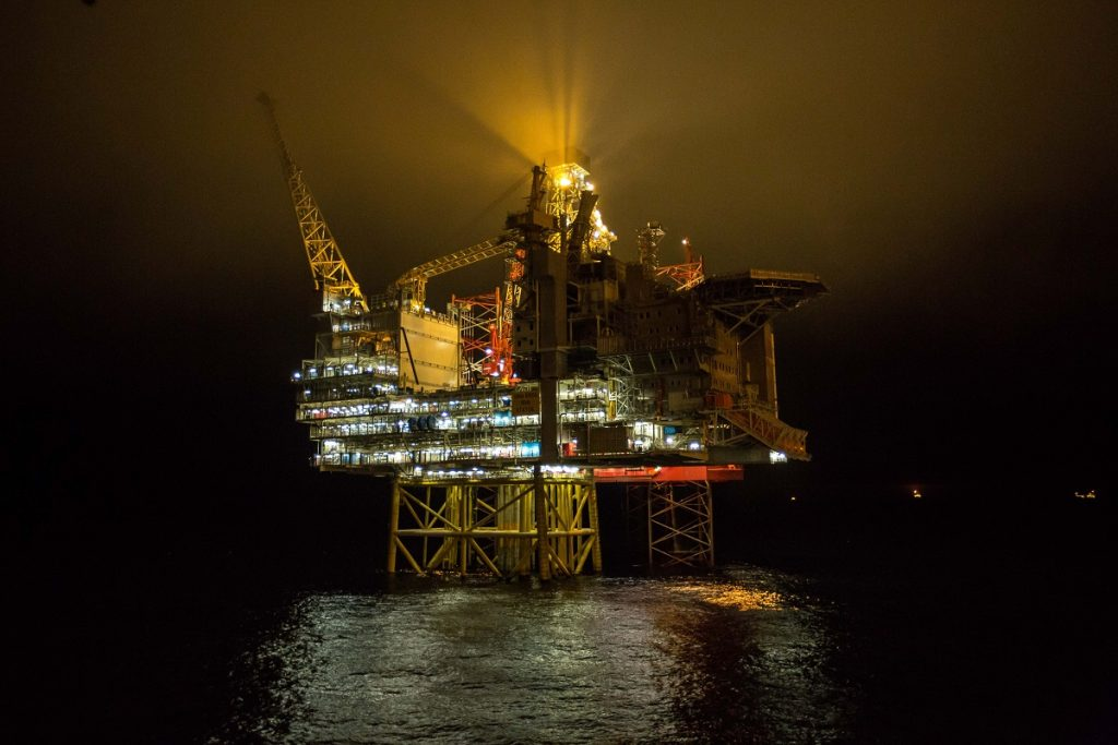 Gina Krog by night. gas extraction, gas production