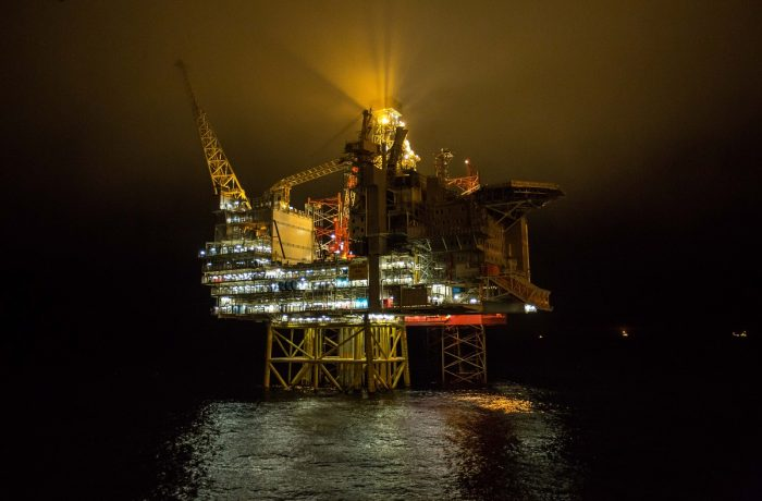 Gina Krog by night, just after the installation of the final module.