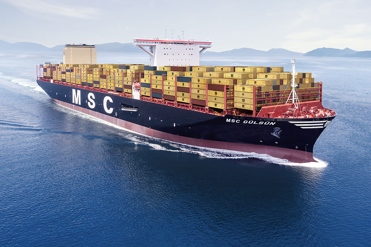 The largest container ship in the world MSC Gülsün already in Gdansk