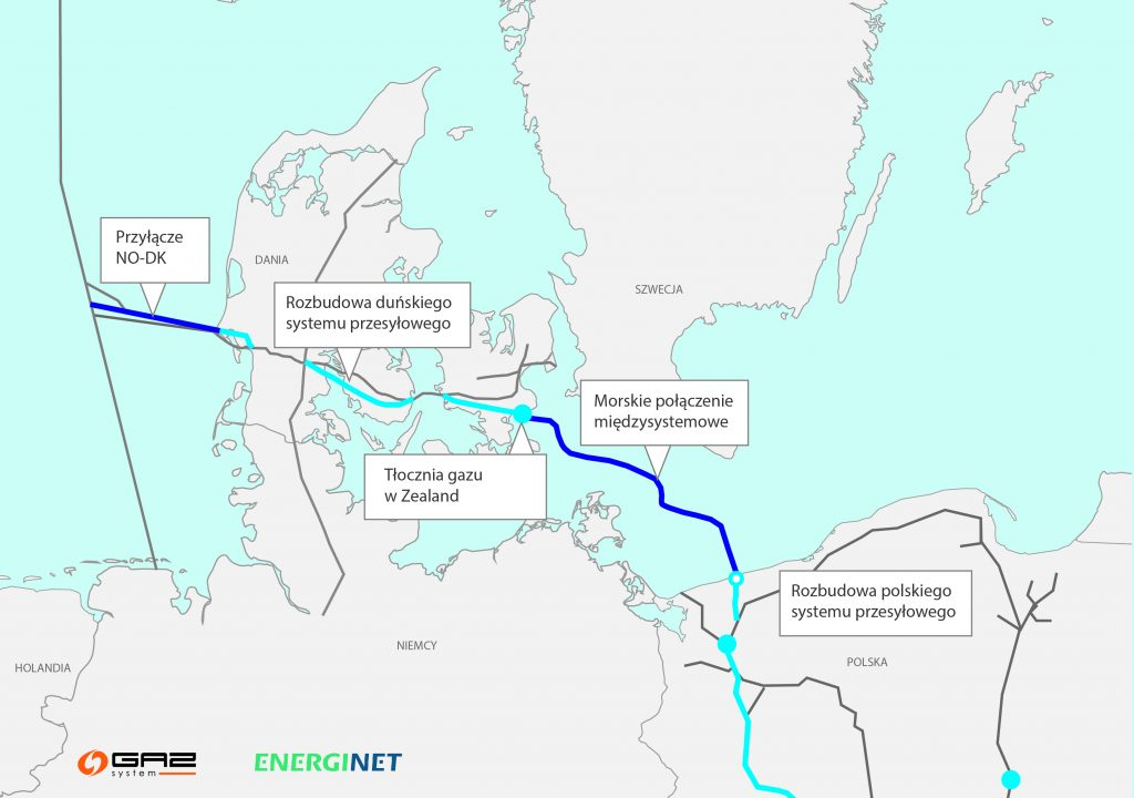 Map of the Baltic Pipe