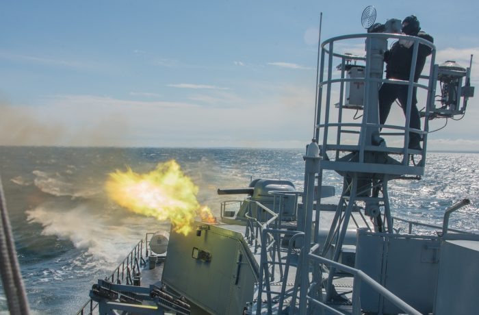ORP Grom fire tasks in the Gulf of Gdańsk waters