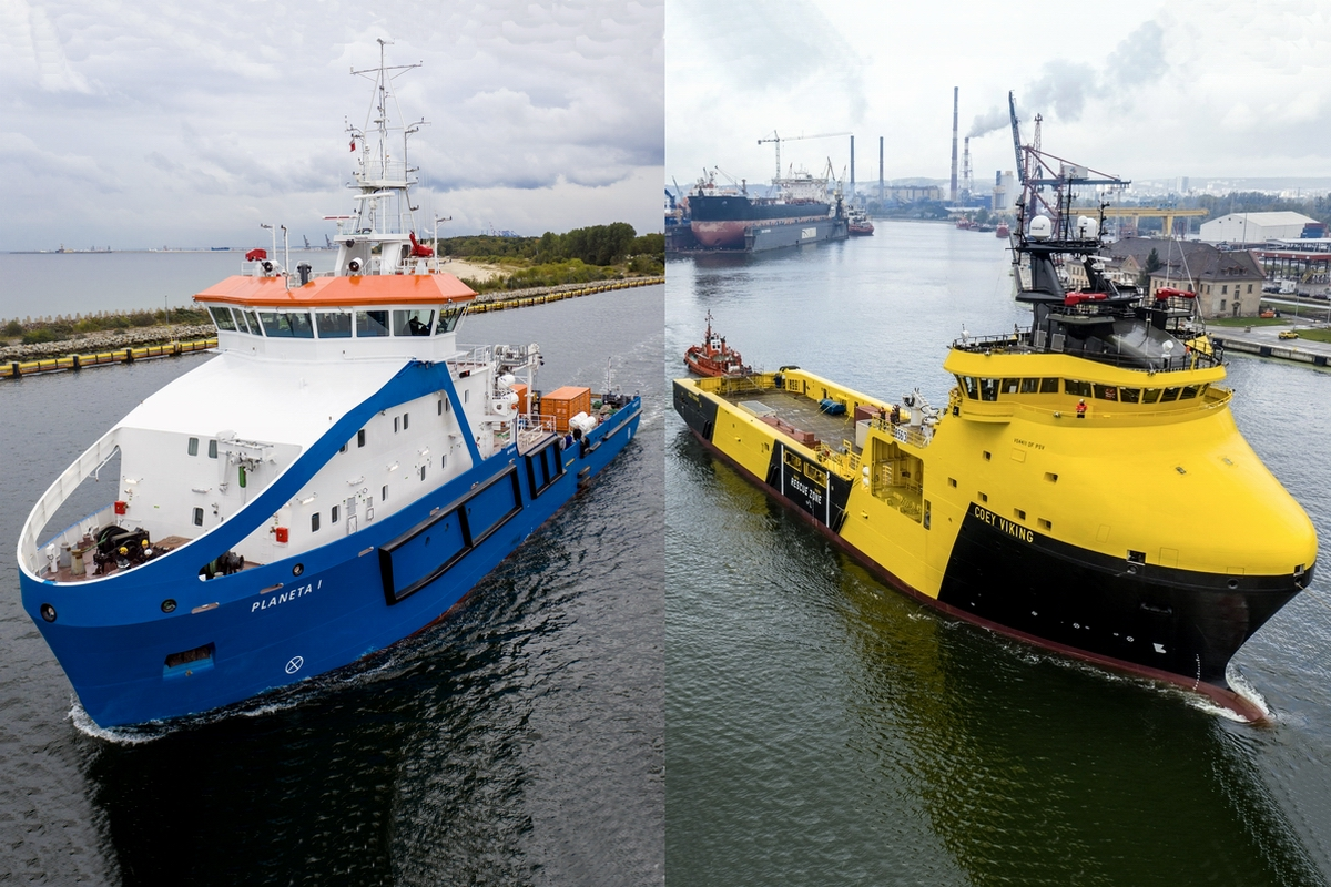 PSV Coey Viking and the multi-purpose vessel Planet I at sea trials