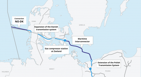 Ships building Baltic Pipe a few kilometres from Polish shore