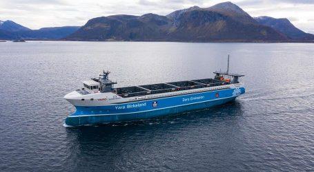 First voyage of the unmanned vessel Yara Birkeland